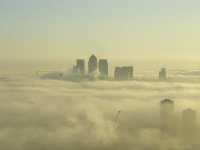 Canary Wharf on a Foggy Day